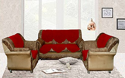 Kuber Industries™ Sofa Cover Maroon Embossed Net For 5 Seater- 10 Pcs Set (Exclusive De