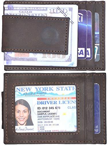Hopsooken Money Clip RFID Front Pocket Wallet Men Leather Slim Minimalist Wallet (A Deep Brown ((Crazy Hourse ()