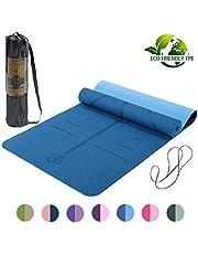 Lixada Yoga Mat, Pilates Mat Non Slip TPE Oefening Mat met Draagband en Opbergtas voor Workout Fitness Gym Yoga 182,9 x 61,0 cm
