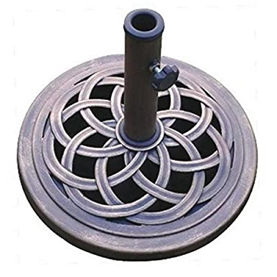 DC America Cast Stone Umbrella Base, Made from Rust Free Composite Materials, Bronze Powder Coated Finish