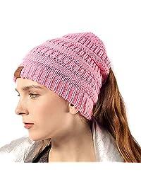 Girls Knit Beanie Hat Soft Stretch Messy High Ponytail Winter Skull Cap, Pink