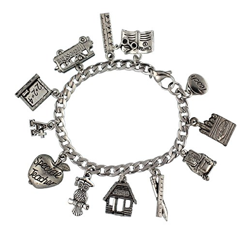 Special Teacher Apple Charm (Special Teacher Stainless Steel & Pewter Charm Bracelet (7.5