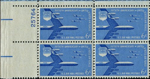 U.S. AIR FORCE ~ B-52 Stratofortress ~ AIR MAIL #C49 Plate Block of 4 x 6¢ US Postage Stamps Airmail Plate Block