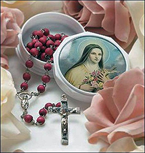 St. Therese Rose Petal Rosary in Case