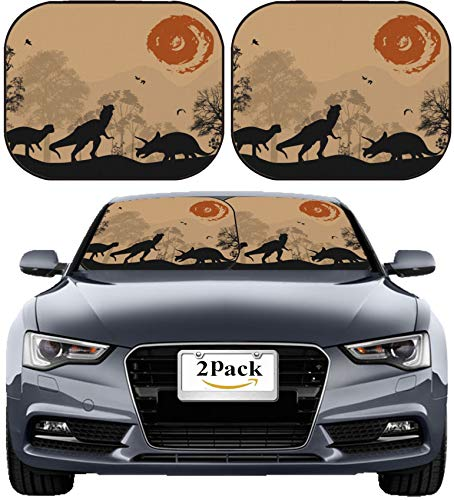 (MSD Car Sun Shade Windshield Sunshade Universal Fit 2 Pack, Block Sun Glare, UV and Heat, Protect Car Interior, Image ID: 24122589 Dinosaurs Silhouettes in Beautiful Landscape Vector)