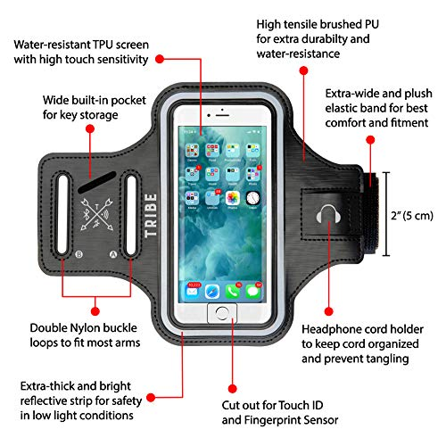 Large Product Image of Tribe Water Resistant Cell Phone Armband Case for iPhone 8 Plus, 7 Plus, 6 Plus, 6S Plus, Samsung Galaxy S9 Plus, S8 Plus, A8 Plus, Note 4/5/8/9 with Adjustable Elastic Band for Running, Walking