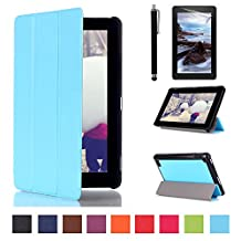 Fire 7'' 2015 Case Cover,Ultra Slim PU Leather Smart Shell Case for Amazon Kindle Fire 7 inch Display Tablet (5th Generation - 2015 Release Only) Stand Cover + Screen Protector + Stylus,Light blue