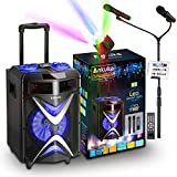 Portable Karaoke Machine for Kids & Adults, Ankuka Wireless Bluetooth PA Speaker System with USB Disco Lights, 2 Microphones and Adjustable Microphone Stand