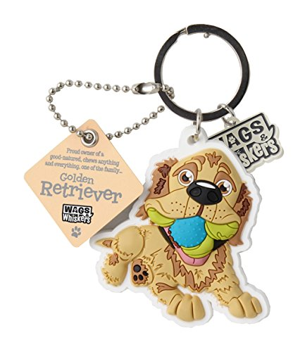 Wags and Whiskers Golden Retriever Key Chain with Keyring/Key Holder (886767110639)