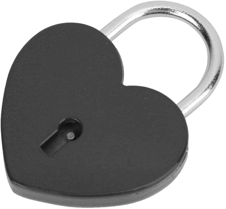 Heart Lock Colorful Metal Mini Padlock with Key for Jewelry Box Storage Box Diary Book 45x59mm Red