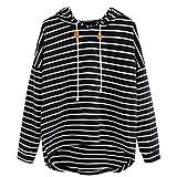 Spbamboo Women Plus Size Sweatshirt Stripe Long Sleeve Crop Jumper Pullover Tops
