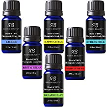 Radha Essential Oils Blend Kit - 100% Pure Therapeutic Grade oils for Aromatherapy Sea of Thieves, Stress Free, Rest & Relax, Breathe Easy, Pure Healing, Happy Citrus, Gift Set - 6/10 ml