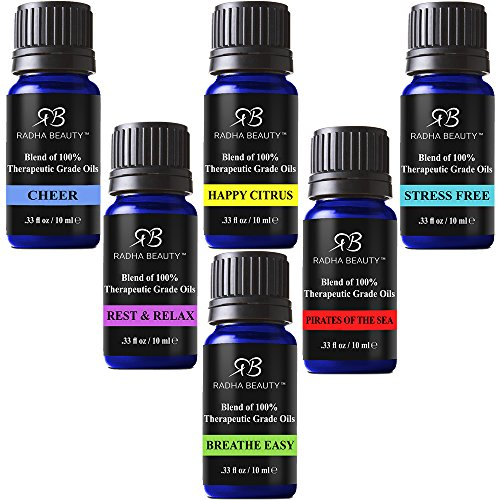 Radha Essential Oil Blends Set - 100% Pure and Natural Kit for Aromatherapy Sea of Thieves, Stress Free, Rest & Relax, Breathe Easy, Cheer, Happy Citrus, great Gift - 6/10 (Essential Oils Cologne)