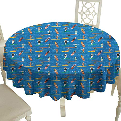 Four Activity Milliken - Cranekey Outdoor Round Tablecloth Rectangular 50 Inch Surf,Woman Surfers in Bikini on Sea Waves Art Deco Style Pattern Summer Activity Hob,Multicolor Great for,Outdoors & More