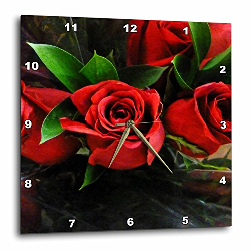 15 Red Roses (3dRose dpp_37240_3 Red Roses on Black-Wall Clock, 15 by 15-Inch)
