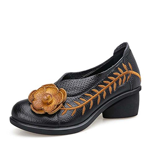 Flowers Shoes Round Hollow Black Women Casual Loafer Size 34 Leather Eu 5cm Dress 40 Heel Toe Embroidery On Chunkly Slip Shoes Comforty Genuine Aq6xZ04B