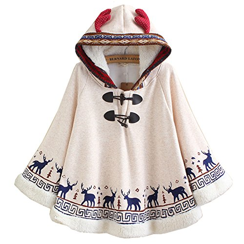 Hotmiss Women's Cotton Christmas Reindeer Pattern Cape Drawstring Hooded Coat Poncho (Beige (Free Fleece Poncho Patterns)