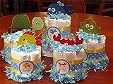 UNDER THE SEA OCEAN CREATURES Baby Shower Mini Diaper Cakes Set of 7