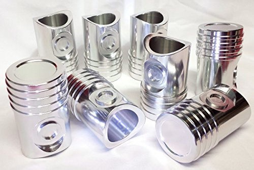Automotive Piston SHOT GLASSES - 8-PAK / SET of 8 - Billet Aluminum like Real - Billet Mustang Cup Holder