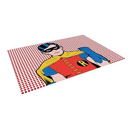 KESS InHouse Roberlan ''The Boy Wonder Pop'' Robin Outdoor Floor Mat, 4' x 5'