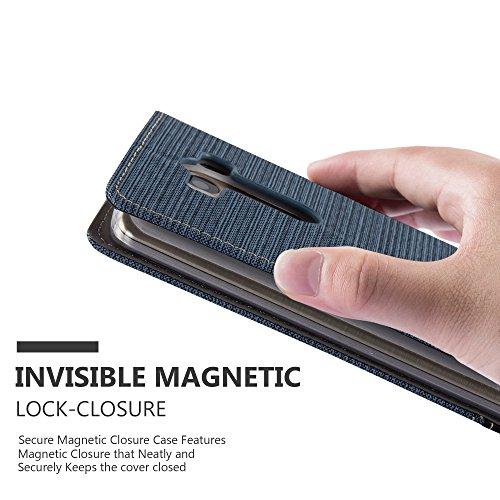Cadorabo - Funda Estilo Book para LG G3 de Diseño Tela / Cuero Arificial con Tarjetero, Función de Suporte y Cierre Magnético Invisible - Etui Case Cover Carcasa Caja Protección en AZUL-OSCURO-NEGRO AZUL-OSCURO-NEGRO