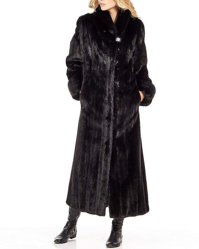Black frr Mink Full Length Coat with Shawl Collar