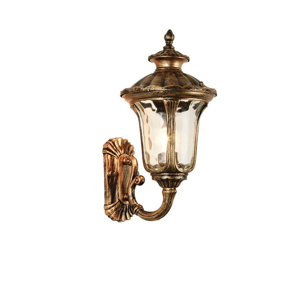 Hdmy Lanterna a parete impermeabile esterna in alluminio con luce a parete per esterni Lampada da parete vittoriana in alluminio a Victoria E27 in bronzo (Dimensione   M)