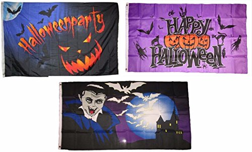 ALBATROS 3 ft x 5 ft Happy Halloween 3 Pack Flag Set #61 Combo Banner Grommets for Home and Parades, Official Party, All Weather Indoors Outdoors ()