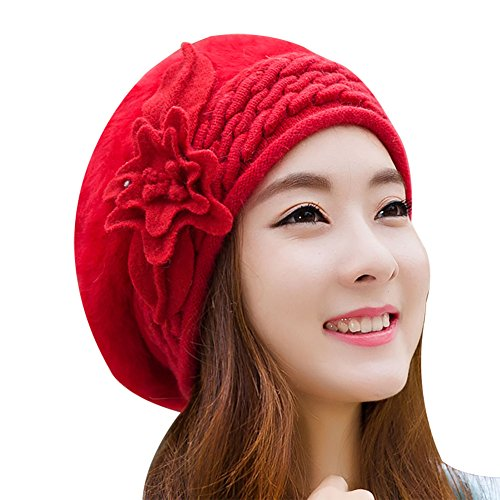 Hat Women Winter Ladies Pure Color Duck Tongue Beret Warm Rabbit Fur Knitting Cap (1 flower rose)