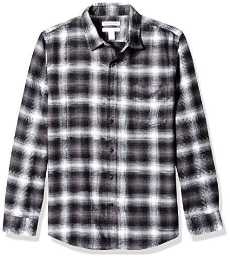 Amazon Essentials Men's Slim-Fit Long-Sleeve Plaid Flannel Shirt, Black Ombre, Small