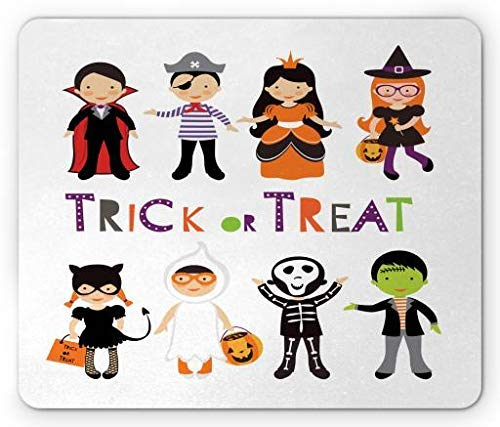 Halloween Mouse Pad, Trick or Treat Colorful Kids Halloween Costumes Skeleton Princess Vampire Witch, Standard Size Rectangle Non-Slip Rubber Mousepad, Multicolor