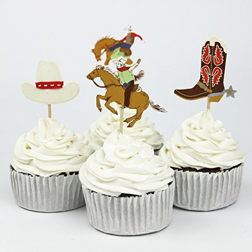 72pcs Cowboys Theme Party Supplies Cartoon Cupcake Toppers Pick Kid Boy Birthday Party Decorations (Cartoon Cake)