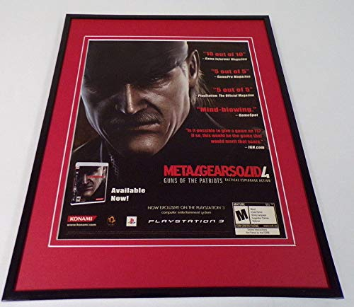 (Metal Gear Solid 4 2008 PS3 Framed 11x14 ORIGINAL Advertisement)