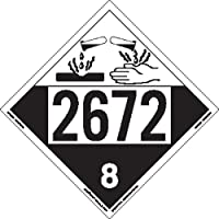 Labelmaster ZT4-2672 UN 2672 Corrosive Hazmat Placard, Tagboard (Pack of 25)