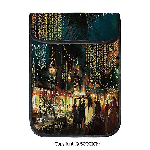 (SCOCICI Protective Storage Carrying Sleeve Case - Painting of Shopping Street City with Colorful Nightlife Abstract Brushstrokes Art Decorative Compatible with 12.9 Inch iPad Pro Tablet)