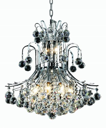 Elegant Lighting 8001D19C/RC Toureg 23-Inch High 10-Light Chandelier, Chrome Finish with Crystal (Clear) Royal Cut RC Crystal - Chrome Finish 10 Light