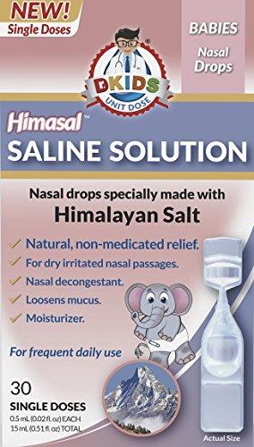 Dr. Kids® - Himasal Natural Nasal Saline Solution. 100% Himalayan Salt, Pre-Measured, Single-Use Vials (0-12 Months (30ct))