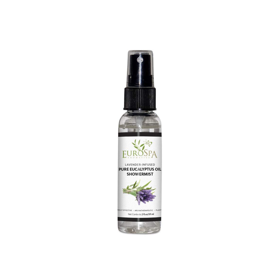 EuroSpa Aromatics Pure Eucalyptus Oil ShowerMist and Steam Room Spray, All-Natural Premium Aromatherapy Essential Oils - Lavender Infused, 2oz by EuroSpa Aromatics