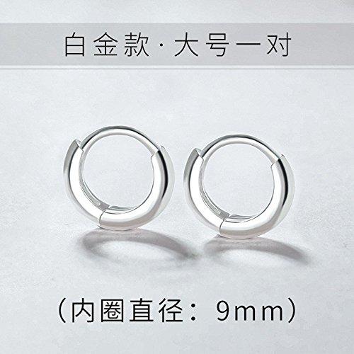 s925 Silver Stud Earrings Earring Dangler Eardrop Small Ear Buckle Women Girls Woman Gift Creative Tide Men Man Circle Hoop ((l - White Gold) Inner Diameter 9mm one Pair ()