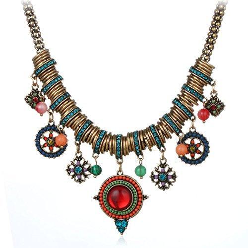 Ethnic Style Necklace - HONGYE Bohemian Multicolor Round Pendants Enamel Rhinestone Ethnic Necklace for Women