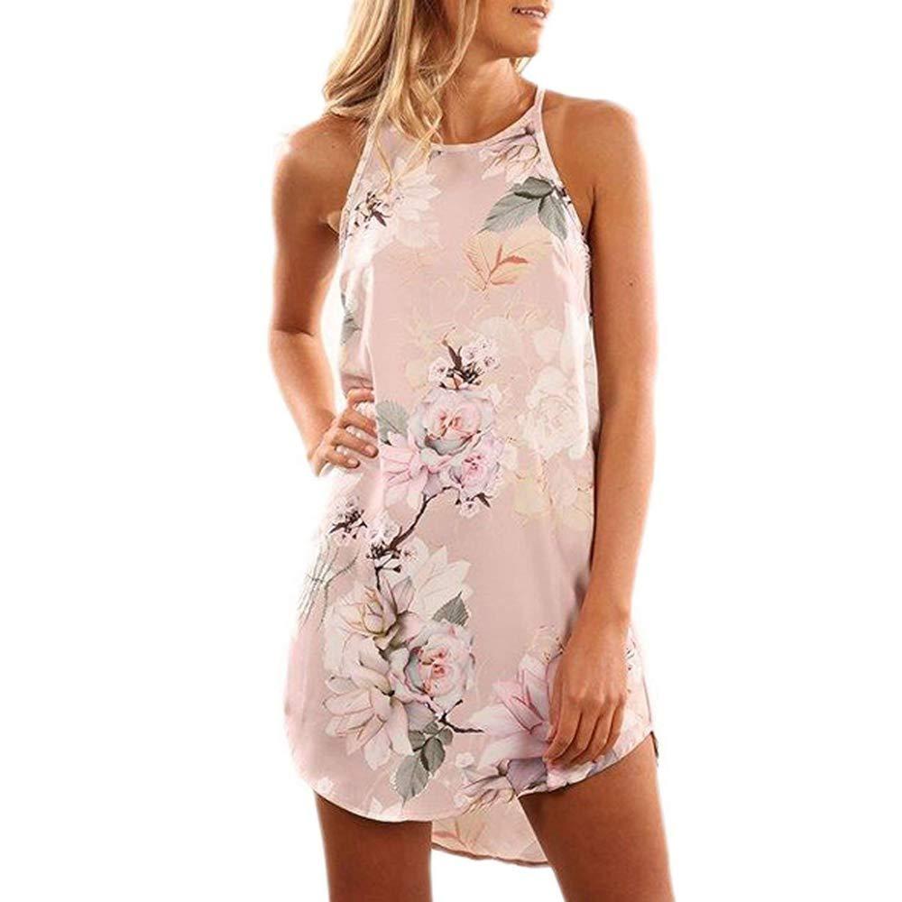 Myoumobi_ Women Fashion Floral Print Dress Loose O Neck Sleeveless Mini Dress Summer Casual Spaghetti Strap Sundress Pink by Myoumobi_Dress (Image #1)
