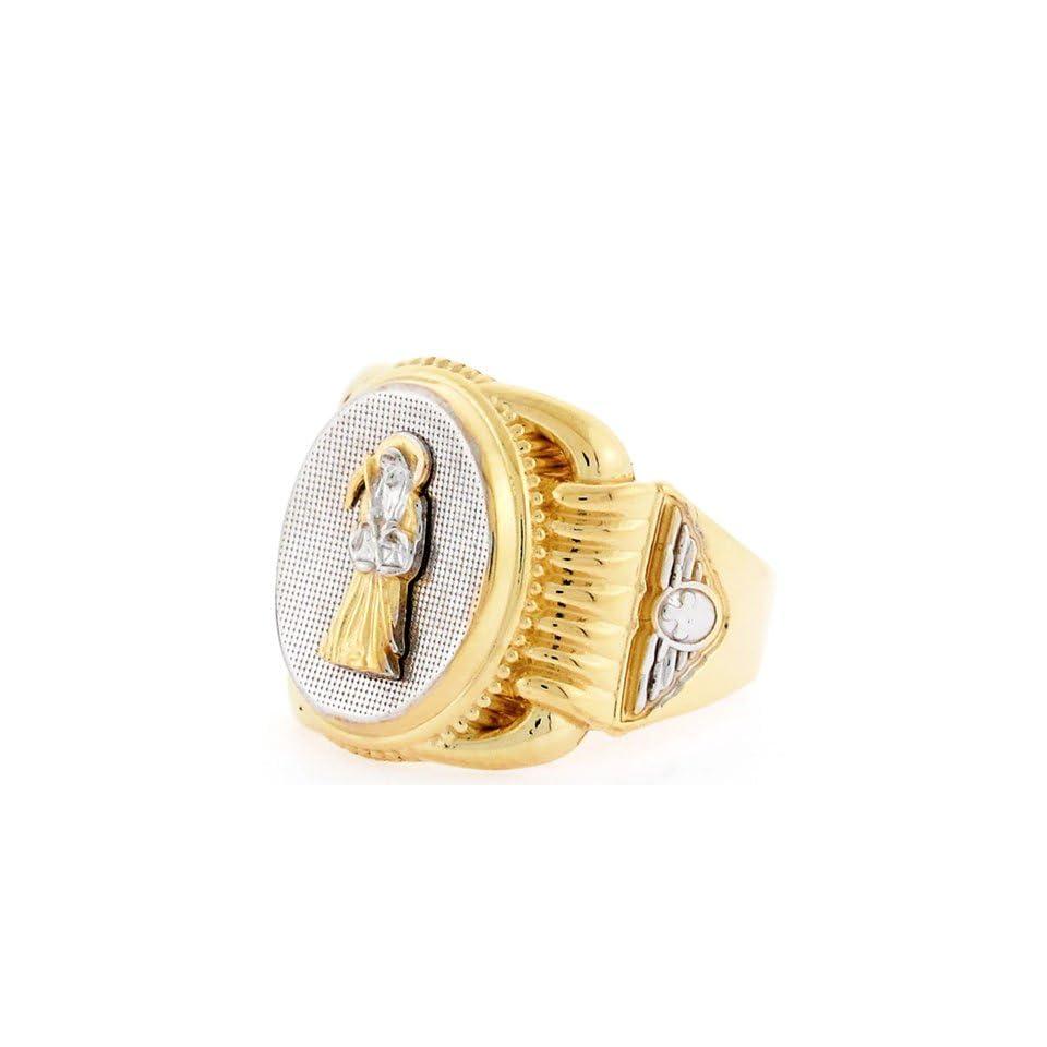 10k Two Tone Gold Religious Santa Muerte Oval Mens Ring