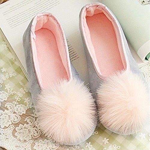 Amiley Womens Casual Leuke Pom Pom Slip-on Huis Slippers Flats Antislip Schoenen Grijs