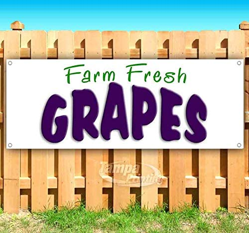Farm Fresh Grapes 13 oz Banner Heavy-Duty Vinyl Single-Sided with Metal Grommets