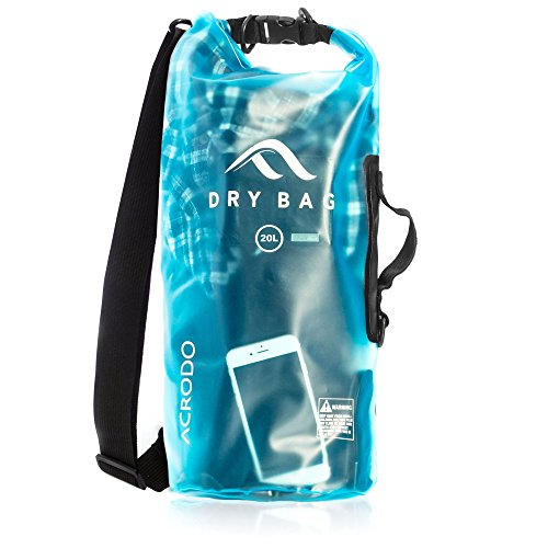 New Acrodo Waterproof Dry Bag Transparent Arctic Blue 20 Liter Floating for Boating, Camping, and Kayaking With Shoulder Strap - Keeps Clothing & Electronics Protected