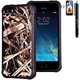 iPhone SE 5 5S Case, True Color Grass Hunter Real HD Tree Camo Emboss Printed Impact Resistant TPU Protective Anti-slip Grip Snap-On Soft Rugged Cover for iPhone 5/5S [True Impact Series] + FREE Stylus and Screen Protector