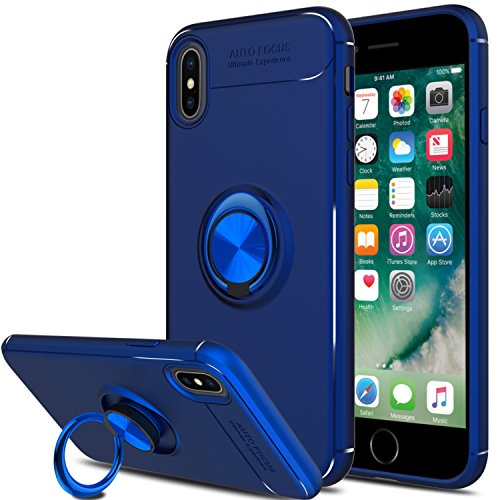 Elegant Choise Compatible with iPhone Xs Case, iPhone X Case,Hybrid Dual Layer 360 Degree Rotating Ring Kickstand Protective Case Magnetic Case Cover (Blue)