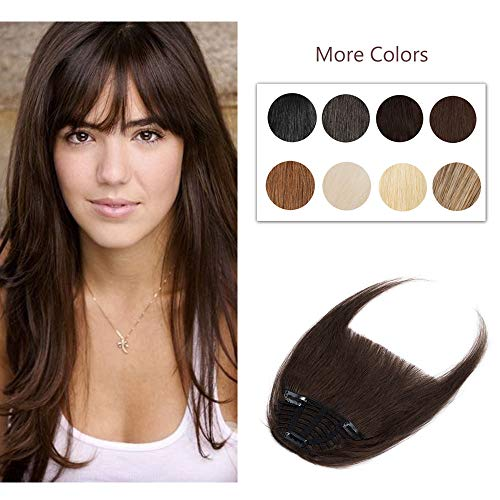 Clip In Bangs 100% Remy Human Hair Extensions One Piece front Neat Fringe Hand Tied Straight Bangs Clip On Hairpiece With Temples For Women #2 Dark Brown 25g