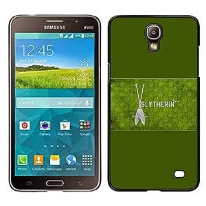 KLONGSHOP // Cubierta de piel con cierre a presión Shell trasero duro de goma Protección Caso - Slytherin - Samsung Galaxy Mega 2 //
