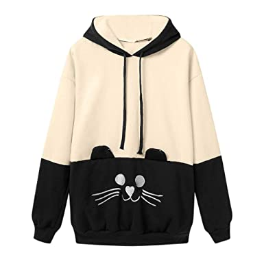 527a85c00 TOTOD Womens Hoodie Pullover Clearance! Women Casual Autumn Long Sleeve Cat  Tops - Ladies Embroidery Hooded Sweatshirt at Amazon Women's Clothing store: